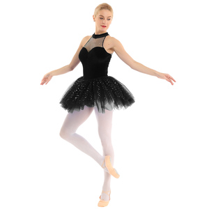 Image 5 - Mulheres vestido de ballet tutu bailarina Brilhante Lantejoula tutu de balé Vestido de Tutu de Balé De Dança Collant Sem Mangas Keyhole Voltar Corpete De Veludo
