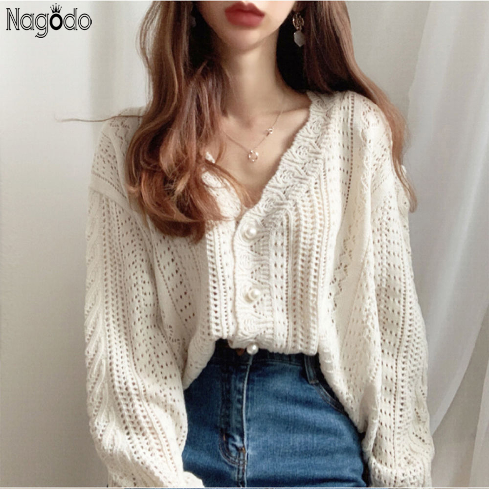 Nagodo Loose Cardigan Sweater Women 2020 Spring Summer Japanese Hollow Out Knitting Pull Femme Long Sleeve Button Ropa Mujer