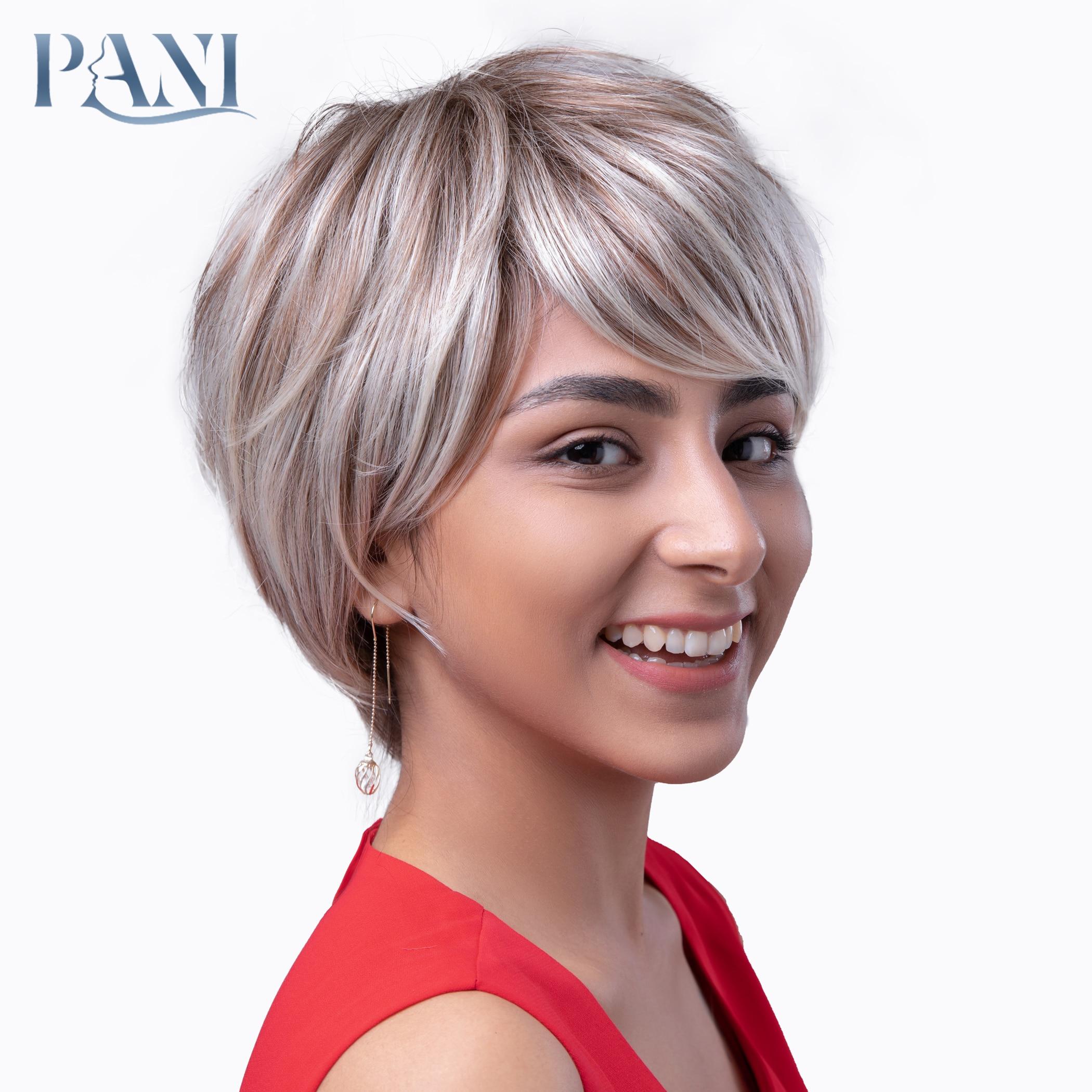Pani curto sintético perucas completas para mulheres peruca loira ombre peruca marrom wth loira destaques cabelo natural com franja perucas baratas