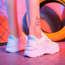 2019 New Summer White Women Sneakers Autumn Fashion Mesh Women Casual Shoes Women Flats Sneakers Platform Shoes Zapatos De Mujer white fashion mesh design flats