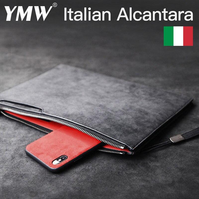 YMW ALCANTARA Briefcase Business Document Phone Bag Luxury Artificial Leather Genuine Leather Storage Bag