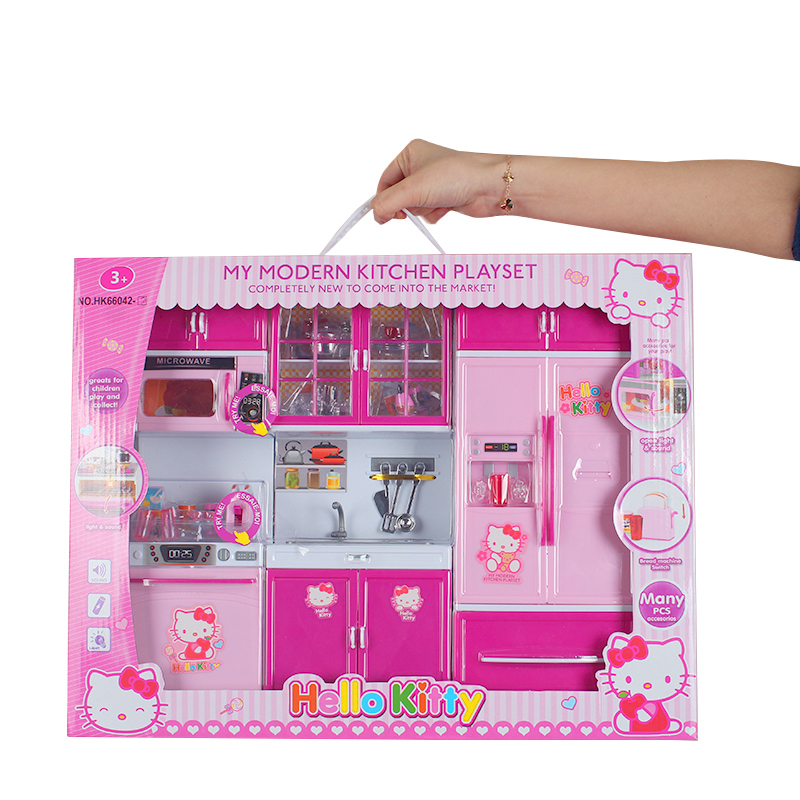 Hello Kitty Kitchen Toy Play House Simulation Kitchenware Mini Kitchen Microwave Refrigerator Oven Girl Gift Sound And Light