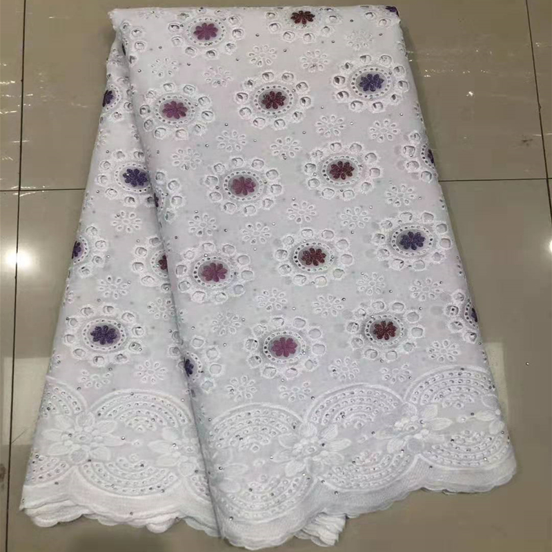 New Arrival African Gorge Lace Fabric 2020 White French Nigerian Copy Cotton Lace Fabric With Beads For Wedding Dresses