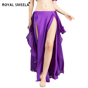 Image 1 - Hot Sale New double slit belly dancing skirts sexy swing Belly dance performance dress lotus skirt belly dance costume  6810