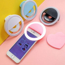Selfie LED Ring Fill Light USB Charge Portable Mobile Phone Lamp Flashes Lens 3 Levels Luminous Clip For IPhone Xiaomi Huawei