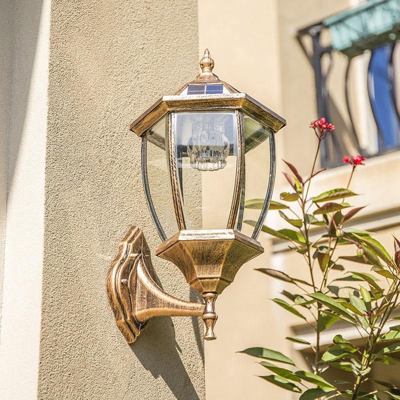 LED Solar Powered Wall Lanterns Wall Light Lamp Outdoor Garden Fence Door