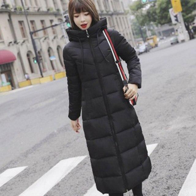 Lange Hooded Thicken Slim Warm Down Jassen Vrouwen Casual Solid Pockets Rits Winter Katoen Uitloper Vrouwelijke Plus Size Jas Jassen