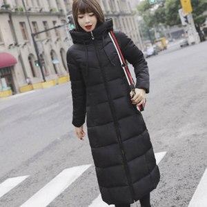 Image 1 - Uzun kapşonlu kalınlaşmak İnce sıcak aşağı palto kadınlar Casual katı cepler fermuar kış pamuk dış giyim kadın artı boyutu ceket ceketler
