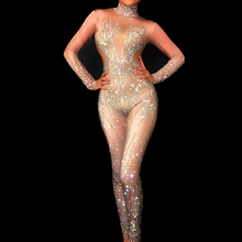 Nude Sequin Jumpsuit Bar-Dance-Costume Birthday-Party-Outfits Rhinestones Silver Women