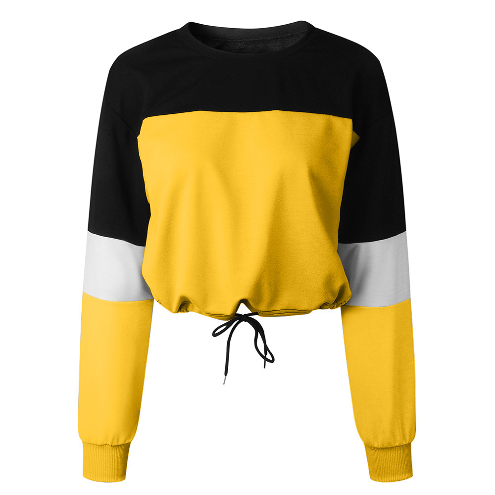 Womens Long Sleeve Splcing Color Sweatshirt Fashion Strap Tops Pullover Blouse Personality Fashion Wide Sleeve Hoodie