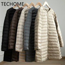 Down-Jacket Long-Coat Ultra-Light TECHOME Women White-Duck-Down Thin Autumn Winter Warm