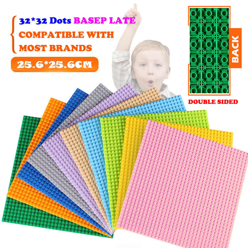 Classic Double-sided Base Plates Plastic Bricks Legoing City Baseplate 16*32 32X32 Dots DIY Blocks Parts Board Toys Kids Gift