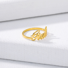 Personalized Custom Name Rings For Women Handwriting Jewellery Rose Gold Stainless Steel Rings For men Wedding Bijoux Femme Bff yahui stainless steel simple heart gold silver rose gold ring rings for women accessories jewellery gifts for women jewellery