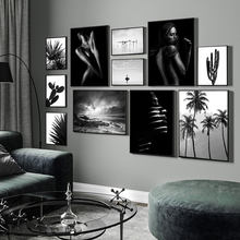 Preto branco fotografia poster paisagem pintura em tela na parede nordic plantas impressão imagem para sala de estar decoração casa