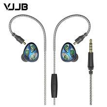VJJB N30 สามหน่วยแหวนเหล็กหูฟังชนิดใส่ในหู Bluetooth สายควบคุมลดเสียงรบกวน HIFI ซับวูฟเฟอร์โทรศัพท์มือถือ Universal