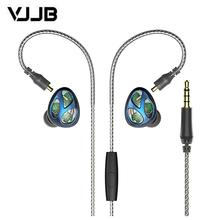 VJJB N30 Three unit ring iron earphone in ear Bluetooth cable control noise reduction HIFI subwoofer mobile phone universal