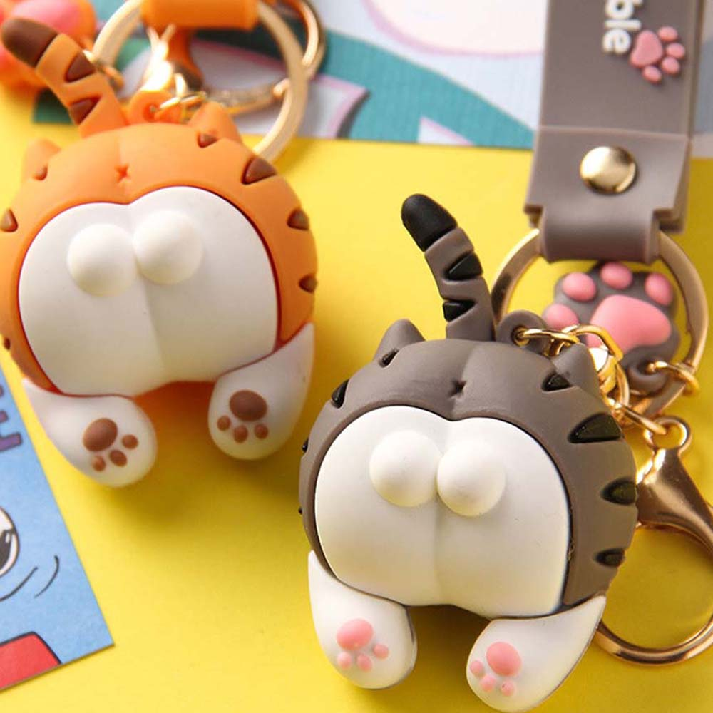 2020 Cute Cat Butt Key Chains For Baby Girls Cats Keychain Car Bag Animal Bell Pendant Keyring Action Figures Pendant