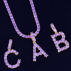 Image 4 - Paars Zirkoon Tennis Letters Kettingen & Hanger Voor Mannen/Vrouwen Goud Zilver Mode Hip Hop Sieraden met 4mm tennis Chain