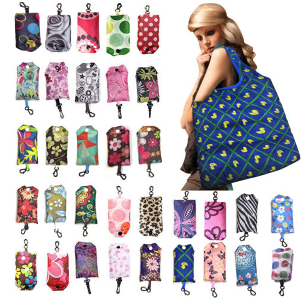Floral Print Storage Recycling Fashion Supermarket Shopping Bag Handbag Fruit Vegetable Foldable With Handle Large Capacity