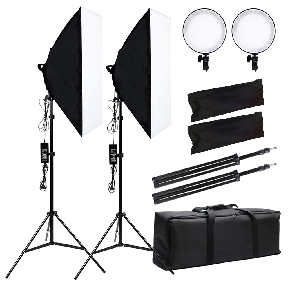 Photo Studio Kit Photography Lighting 2PCS 45W LED Dimmable Lamp +2PCS 50*70CM Softbox +2PCS Light Stand +Carrying Bag