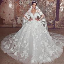 Современные Свадебные платья с кружевными цветами размера плюс