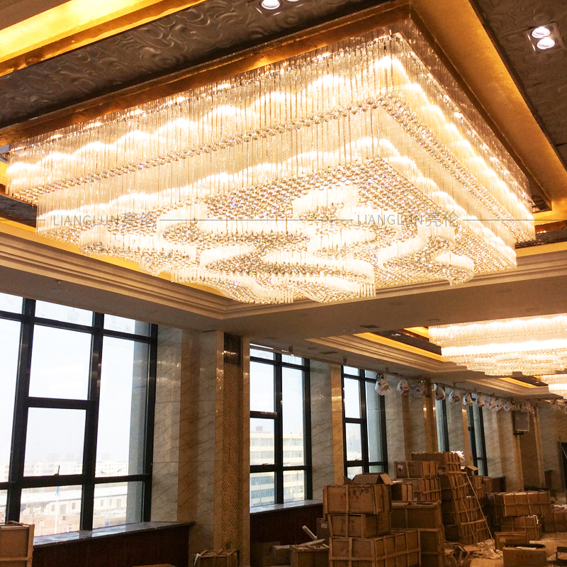 Hotel Lobby Crystal Chandelier Clubhouse Lobby Front Desk Custom Sales Office Sand Table Creative Lamp Engineering Lighting