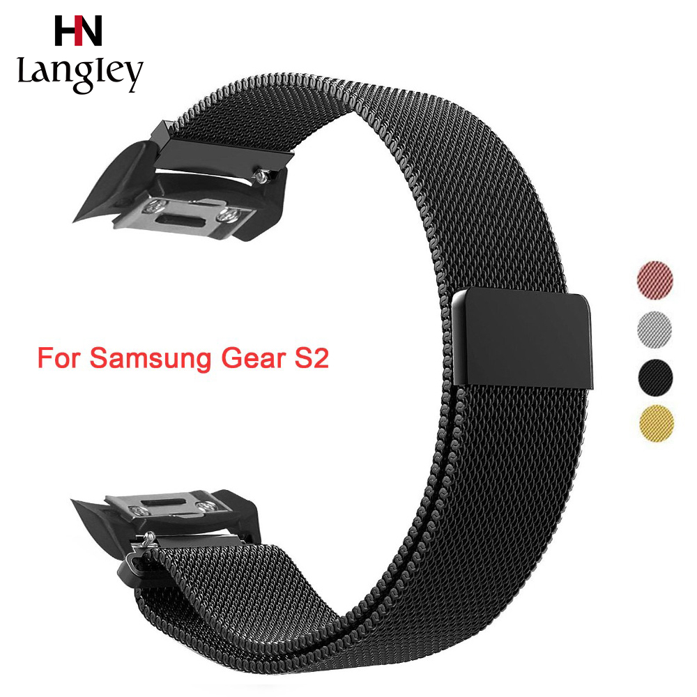 Milanese Loop Strap Bands for Samsung Gear S2 Magnetic Closure Clasp Band SM-R720/SM-R730 Smart Watch Accessories with Connector image