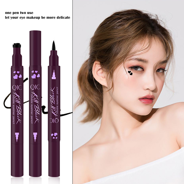Liquid Eyeliner Pencil Super Waterproof Black Double-Headed Stamps Eye liner Eye maquiagem Cosmetic Makeup Tool 1