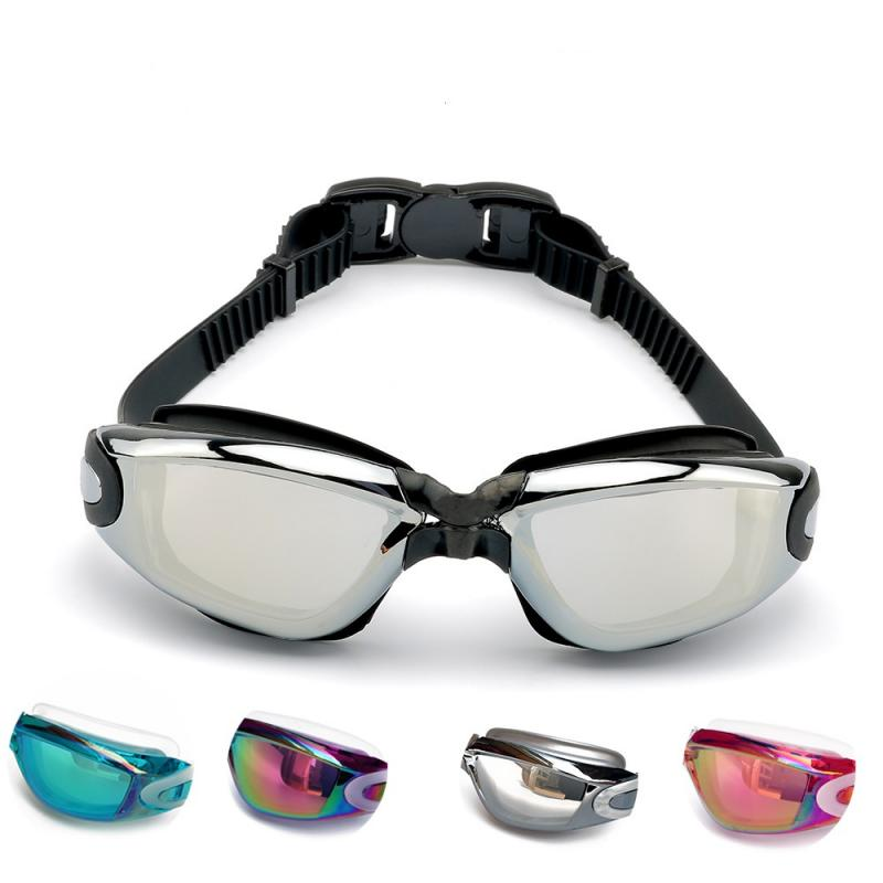 Fashion Swimming Goggles HD Swimming Glasses With Earplugs Nose Clip Electroplate Large Frame Waterproof Swimming Googles