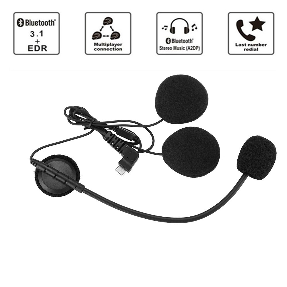New BT-S2 BT-S1 Motorcycle Helmet Intercoms Handsfree Motorbike Bluetooth Headset 2 Pcs Earpiece Type-c Interface Microphone