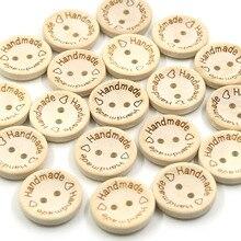 50 шт. круглые деревянные пуговицы натурального цвета, ручная работа, 2 отверстия, детская Пряжка для шитья, 15 мм, 20 мм, 25 мм, пуговицы для одежды, рукоделие