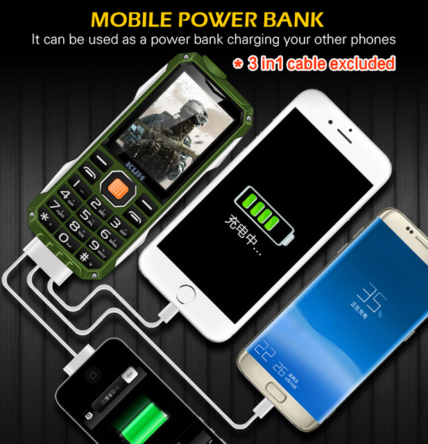 KUH T998 Phone With Power Bank Phone Dual Sim Camera MP3 Flashlight ShockproofRugged 2.4 Inch Cheap cellPhones