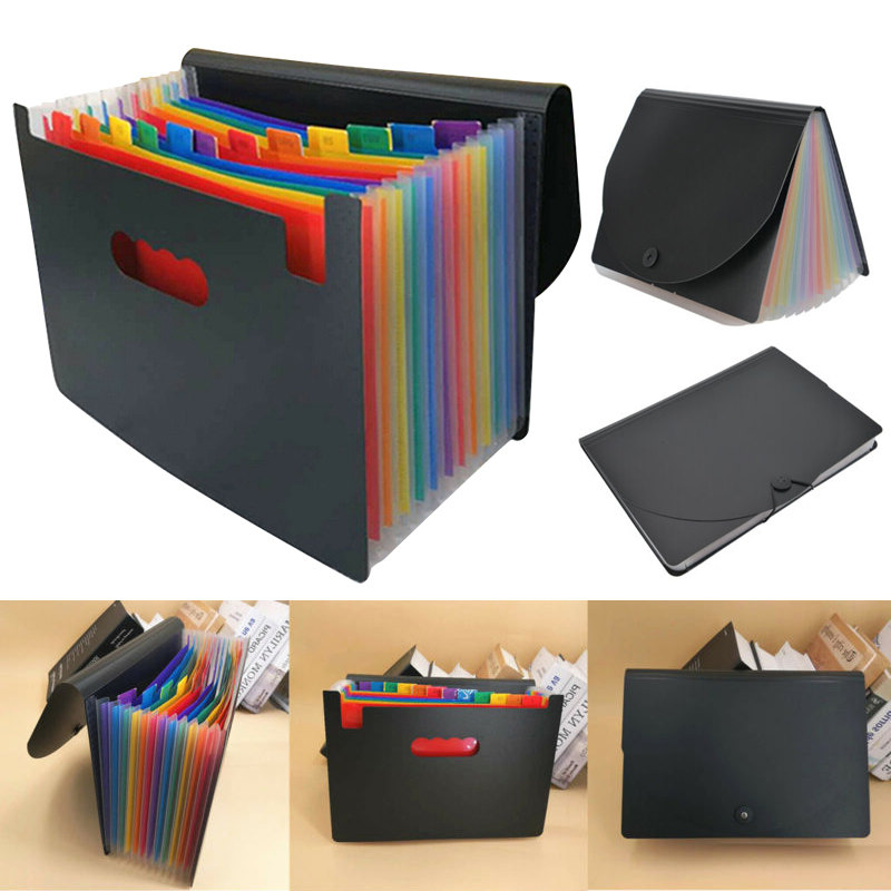 New Expanding File Box 13 Pocket A4 Folder Document Organiser Practical Accordion Folder With Flip Cover For Documents Business