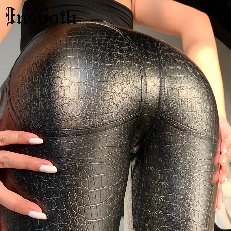 InsGoth Leather Pants Crocodile Skin Bodycon Black High Waist Long Trousers Gothic Streetwear Punk Women Leather Pants