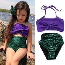 Conjunto de Bikini de sirena púrpura para niña, bañador, traje de baño infantil, ropa de baño, ropa de playa