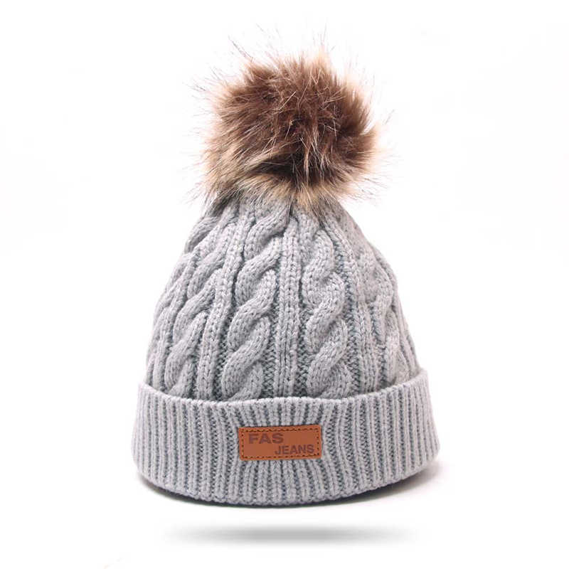 Invierno cálido bebé gorros sombrero Pompon niños sombreros de punto Linda gorra para niñas niños gorras Casual Color sólido niñas sombrero los niños sombrero