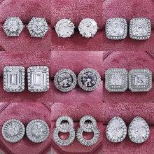 Pendientes de plata de ley 2021 y Circonia cúbica para mujer, aretes de lujo, color rosa, regalo de San Valentín, Z5, novedad de 925
