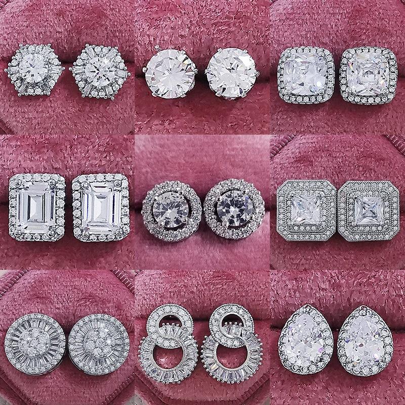 2021 neue Ankunft Mode Luxus 925 Sterling Silber Rosa CZ Drop Stud Earing für frauen Valentinstag geschenk Z5
