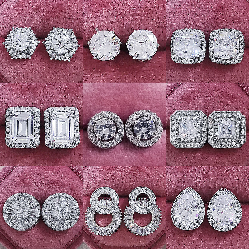 2021 New Arrival Fashion Luxury 925 Sterling Silver Pink CZ Drop Stud Earing for women Valentine's Day gift Z5|Stud Earrings| - AliExpress