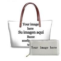 TWOHEARTSGIRL 2Pcs/Set Handbag&Wallets Women Large Capacity Top handle Bags Customized Your Image or Logo Tote Bags Lady Bags