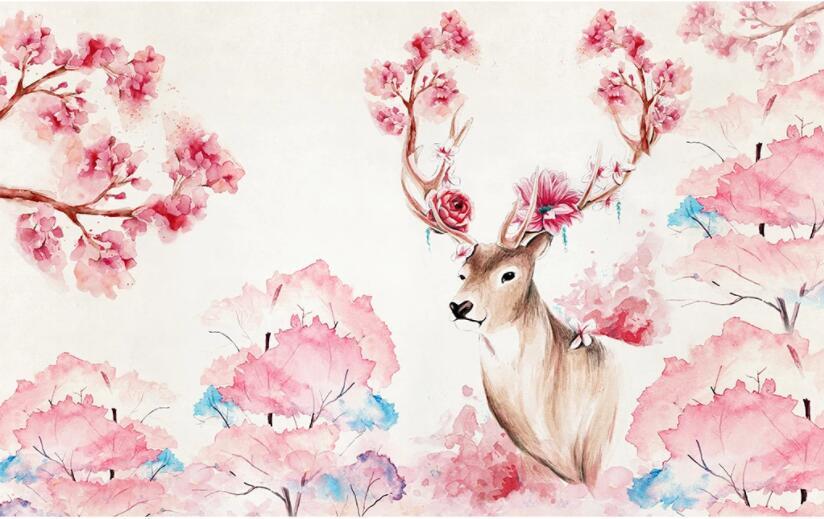 Beibehang Custom Wallpaper Photo Watercolor Cherry Tree Deer Garden Home Decor Living Room Bedroom Wall Murals 3d Wallpaper