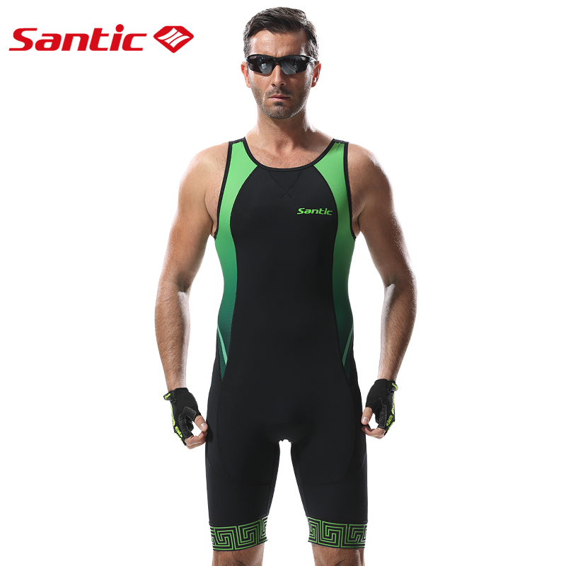 Santic Cycling Jersey Men Triathlon Skinsuit Clothing Sleeveless Jumpsuit Tight Suit Bike Bicycle Swim Jerseys Maillot Ciclismo