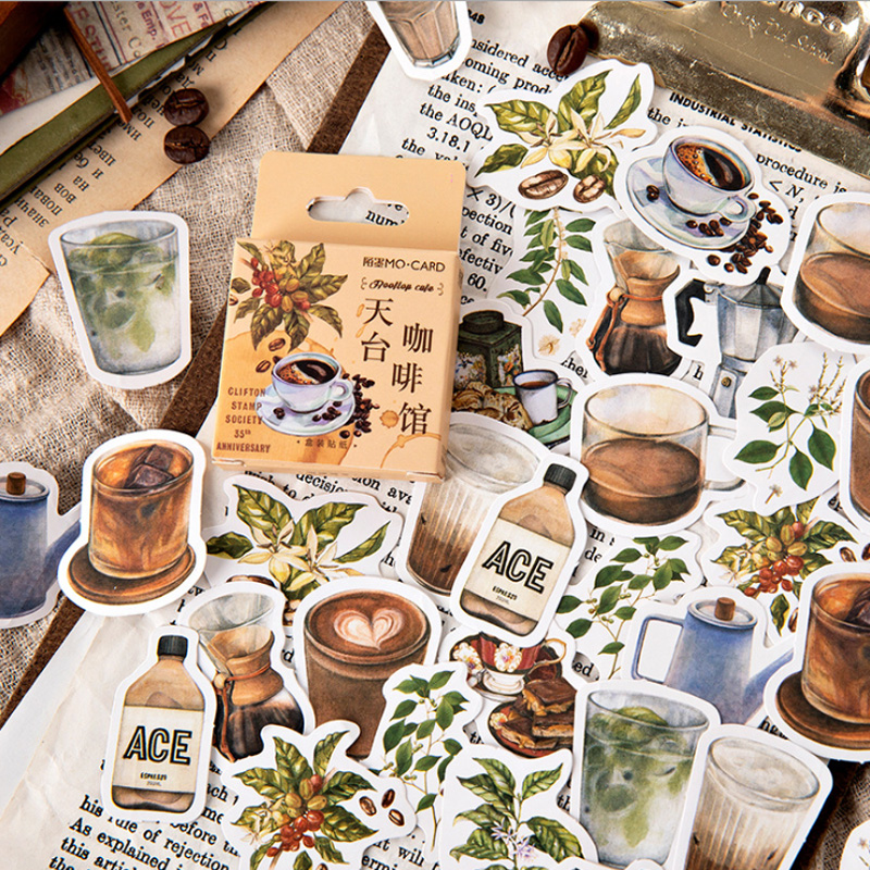 46pcs/pack About Coffee Series Stickers Diary Aesthetic Travel Stickers Decorative Stickers