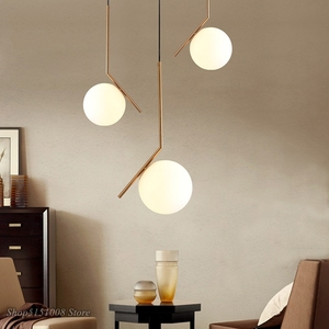 Image 4 - Modern Glass Ball Pendant Light kitchen hanging lamps Hang Lamp Nordic Home Decor Light Fixtures christmas decorations for home
