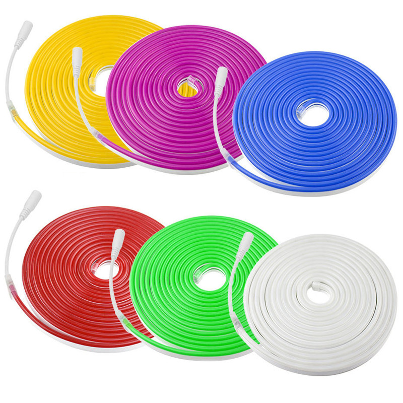 1m/2m/3m/4m/5m 12V Led Flexible Neon Light Rope Tube Tape Waterproof LED Neon Lights Decoration For Party  Bar  Car Decor B2
