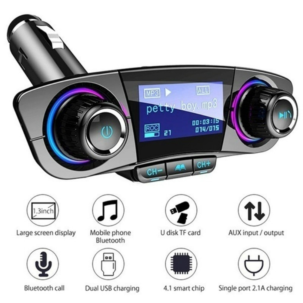 FM Transmitter Aux Modulator Bluetooth Handsfree <font><b>Car</b></font> Kit <font><b>Car</b></font> <font><b>Audio</b></font> MP3 <font><b>Player</b></font> with Smart Charge Dual USB <font><b>Car</b></font> Charger image