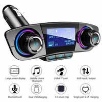 Transmisor FM Aux modulador Bluetooth Kit de manos libres para coche Audio reproductor MP3 con cargador inteligente Dual USB cargador de coche