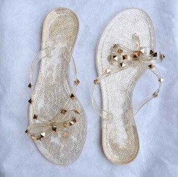 Rivet Bowknot Sandals Summer Woman Beach Flip Flops Jelly Shoes PVC Slides Girls Sandals Slip on Flat with Women Studs Slippers 4