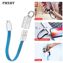 Keychain USB Fast Charger Sync Data Cable For iphone Xs Type-C Micro C Short Bag Pendant Key Chain Mobile Phone Cables