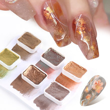 6/12 Colors Pearl Shimmer Nail Art Pigment Painting Glitter Solid Paint Bronze Gold Gradient Watercolor Powder Nail Art JI1838-2